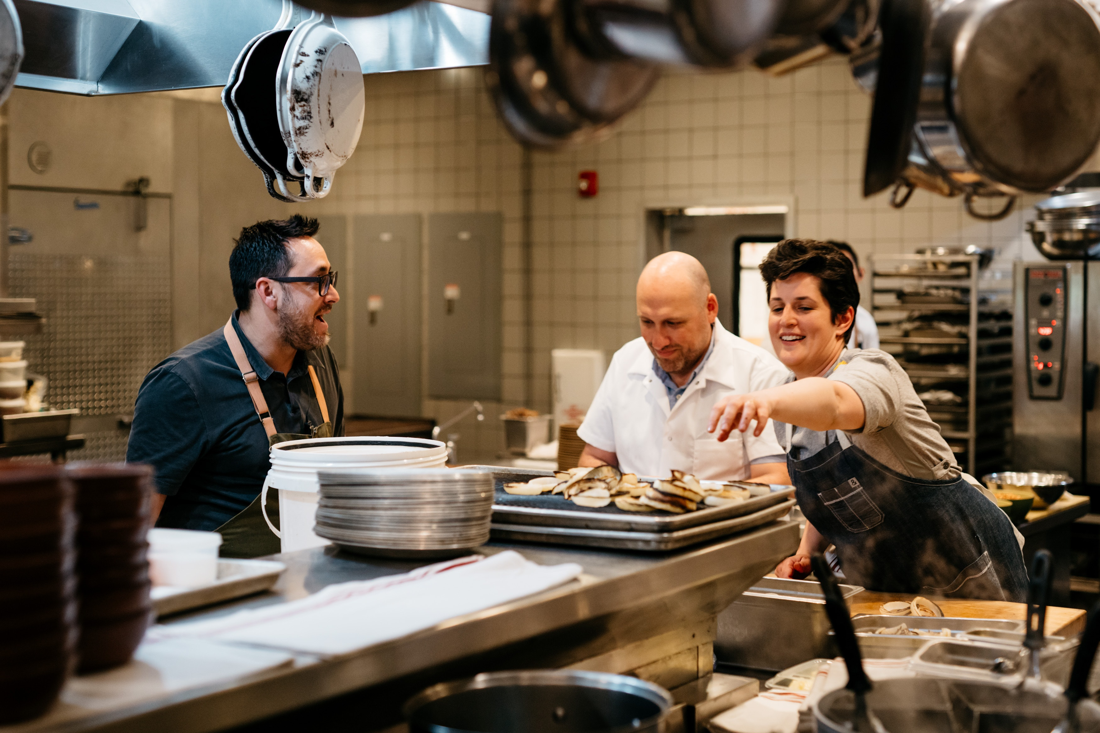 Chefs Christopher Kostow, Greg Denton, and Bonnie Morales were among those who cooked during a recent Guest Chef Potluck event at The Charter Oak.