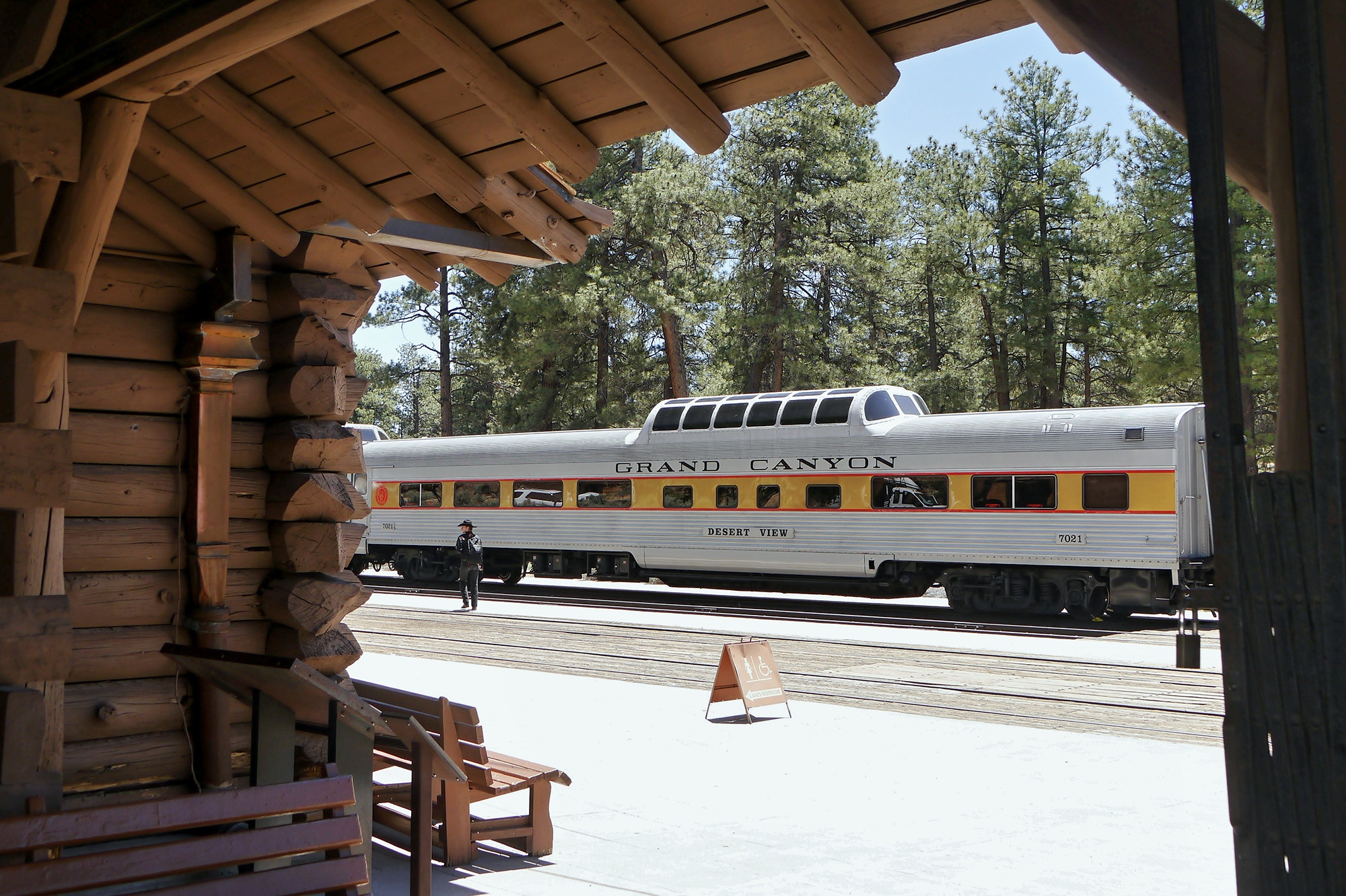 The historic train makes its stop in the Grand Canyon Village.