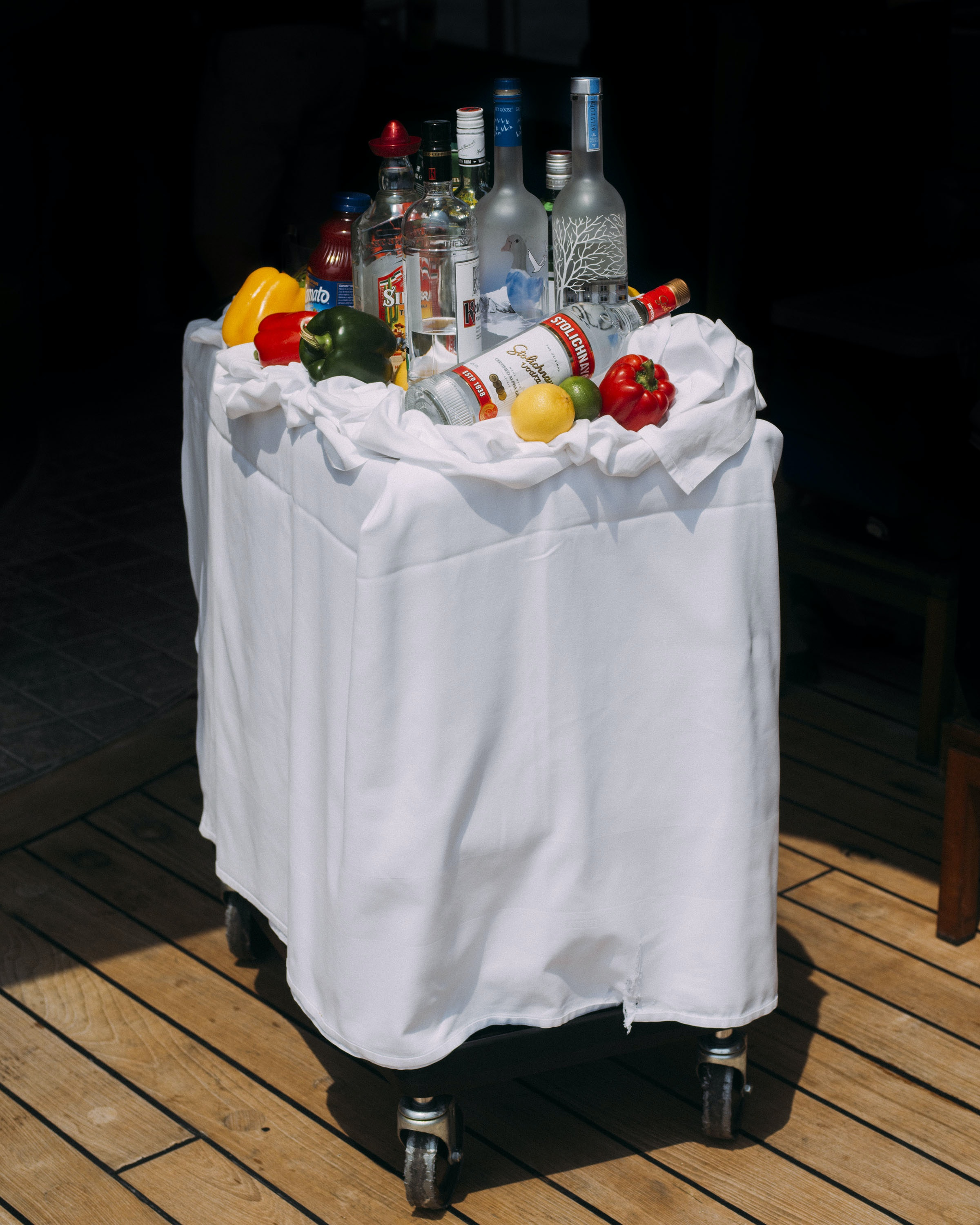 Every morning, the bar cart cruises the Silver Whisper pool area offering bloody marys to guests.