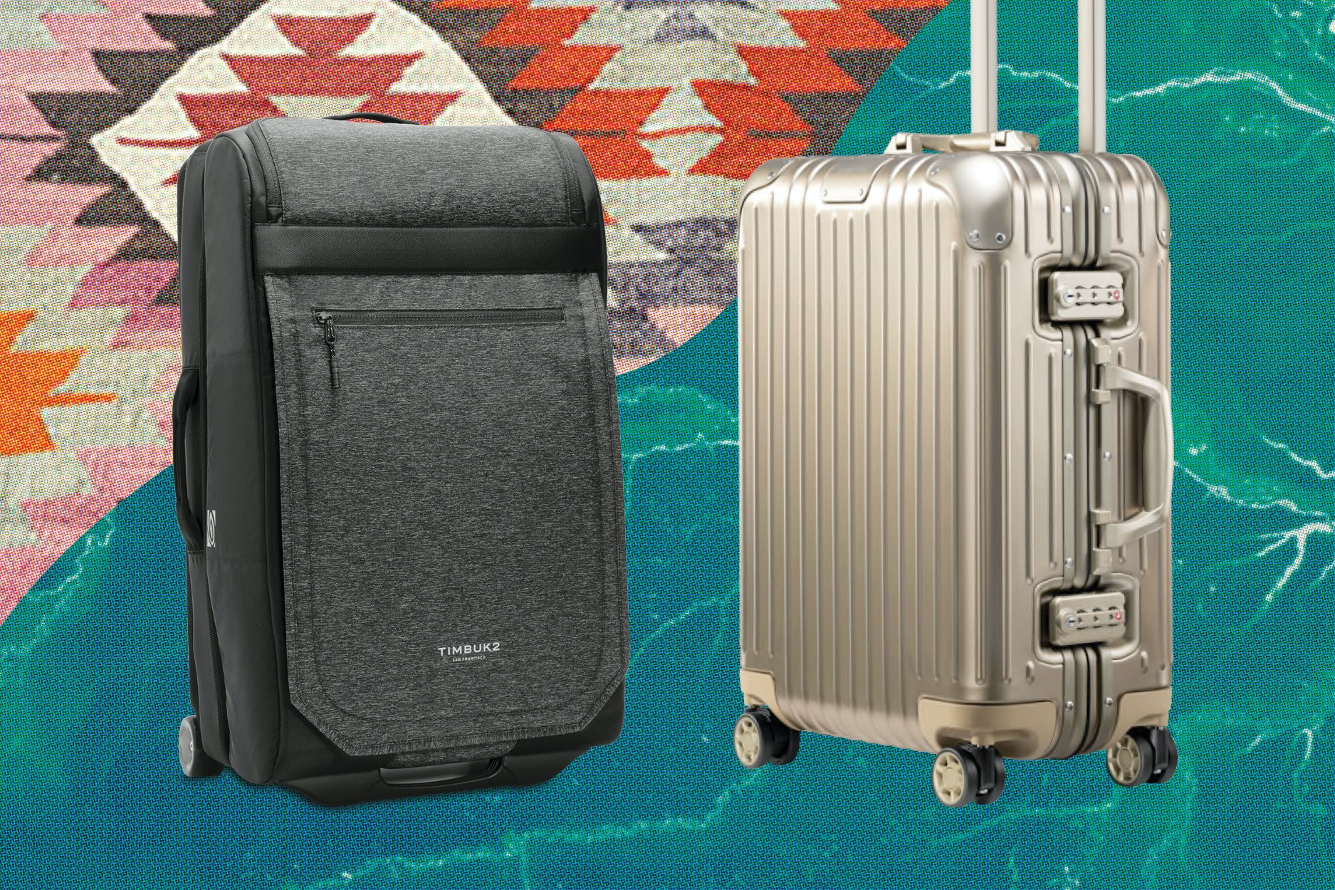 The Timbuk2 Copilot, left, and Rimowa's Original Cabin, right