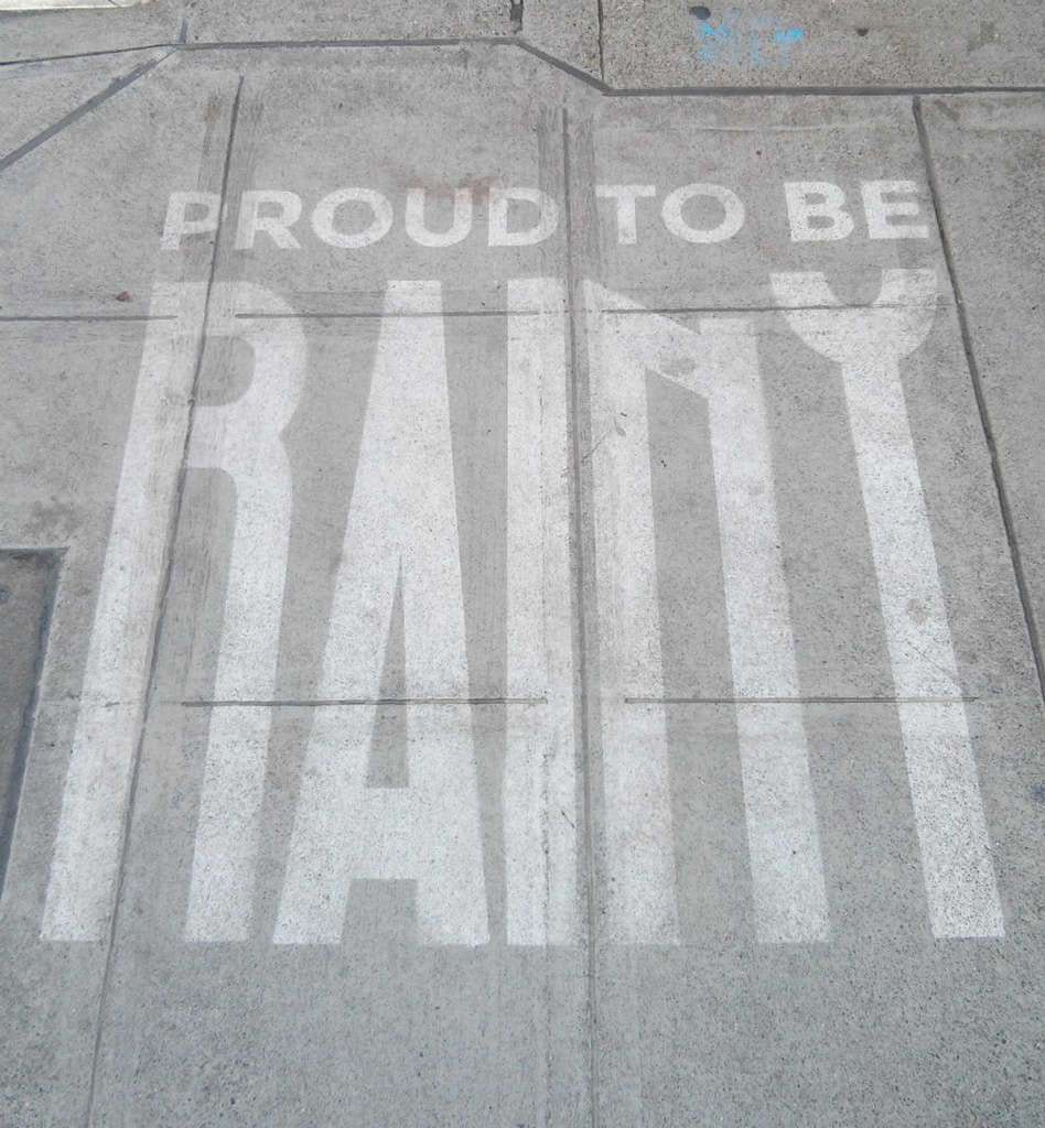 One of Seattle's rain-activated street-art installations.