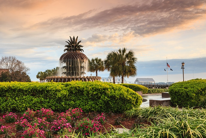 Charleston's eight-acre Waterfront Park sits at the edge of the Cooper River.
