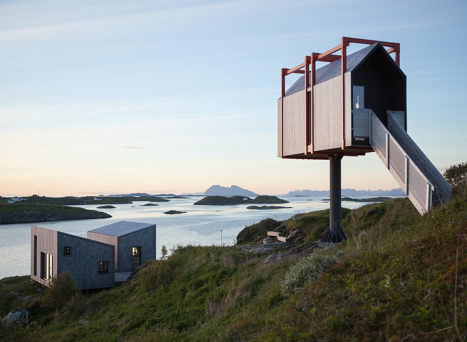 The Arctic Hideaway has nine cabins spread along a remote island in Norway.