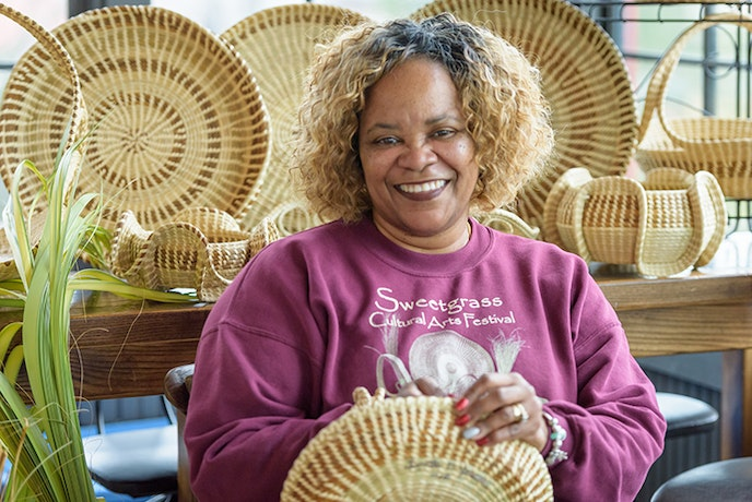 Learn the basics of Gullah basket-weaving with a master of the craft, Lynette Youson.