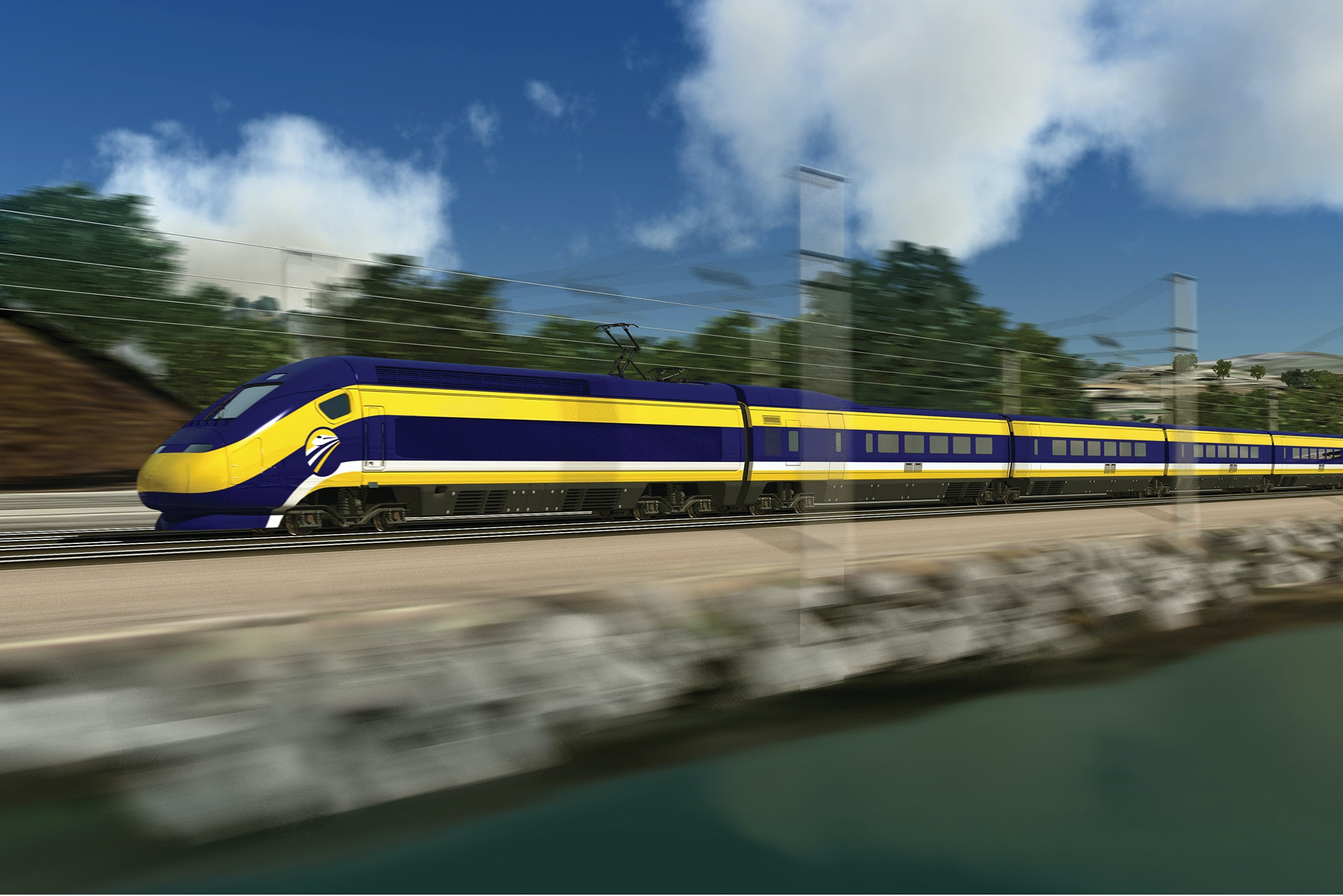 The California high-speed rail route between San Francisco and Los Angeles is slated to open in 2033.