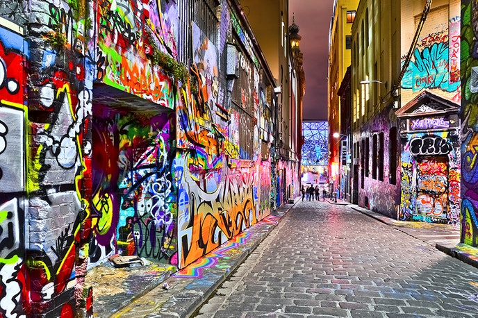 Hosier Lane is one of the most famous graffitied streets in Melbourne, with artists' work changing constantly.