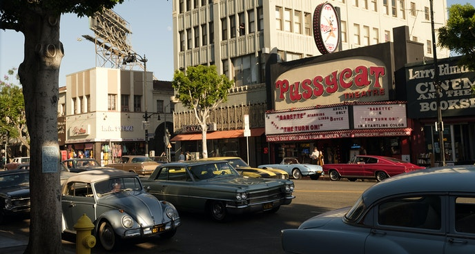 """The """"Once Upon a Time"""" production design crew recreated the famous Pussycat Theater facade to feature the Hollywood Boulevard location onscreen."""