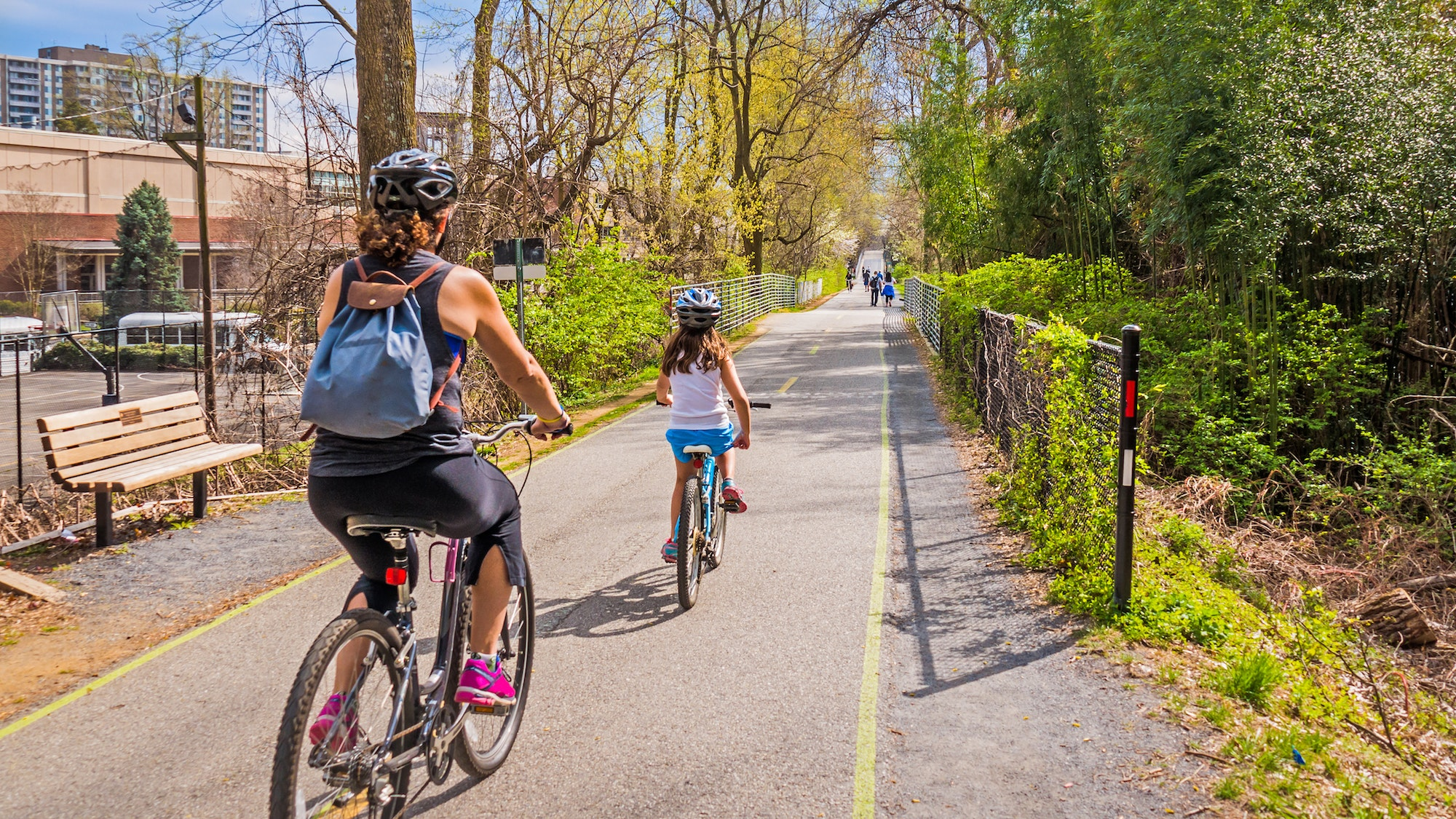 Bikers along the Capital Crescent Trail in Washington, D.C.