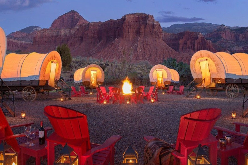 Capitol Reef Resort in Utah also offers Conestoga wagon glamping.
