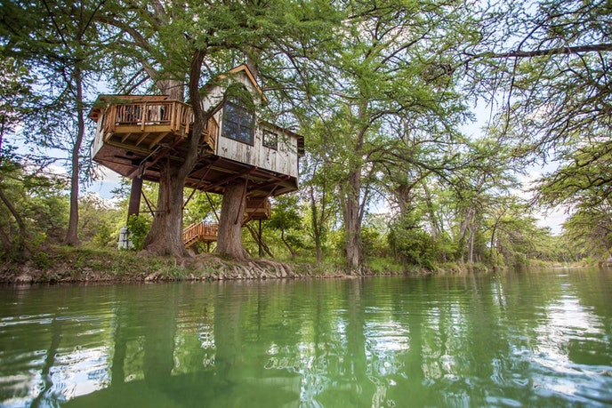 Treehouse Utopia overlooks the lazy Sabinal River.