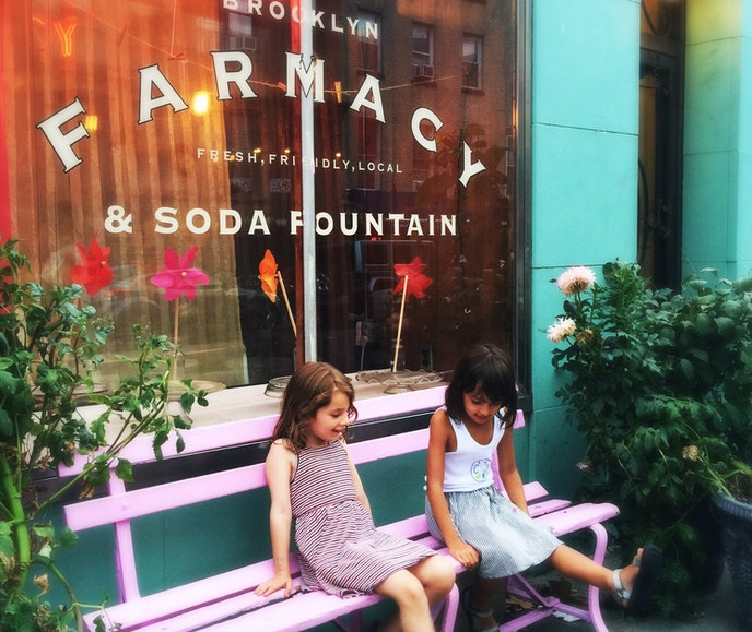 Brooklyn Farmacy & Soda Fountain is a nostalgic fantasyland for tiny taste buds, with crowd-pleasers like banana splits and gooey grilled cheeses.