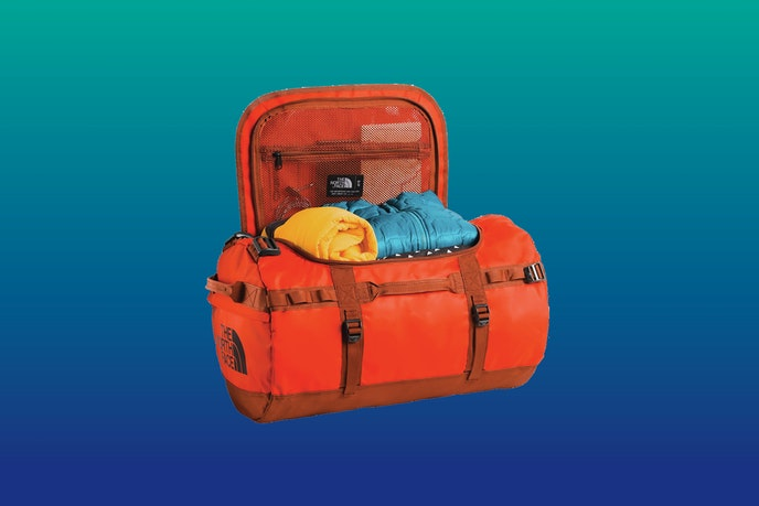 The North Face Base Camp Duffel is offered in red, blue, green, black, khaki, and other colors.