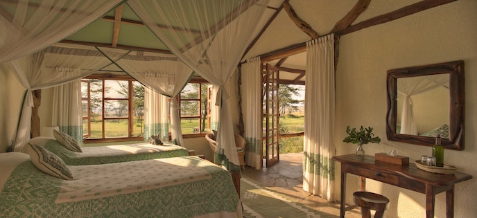 Familes can set their own schedule when they stay in a six-person bush house with Asilia Africa.