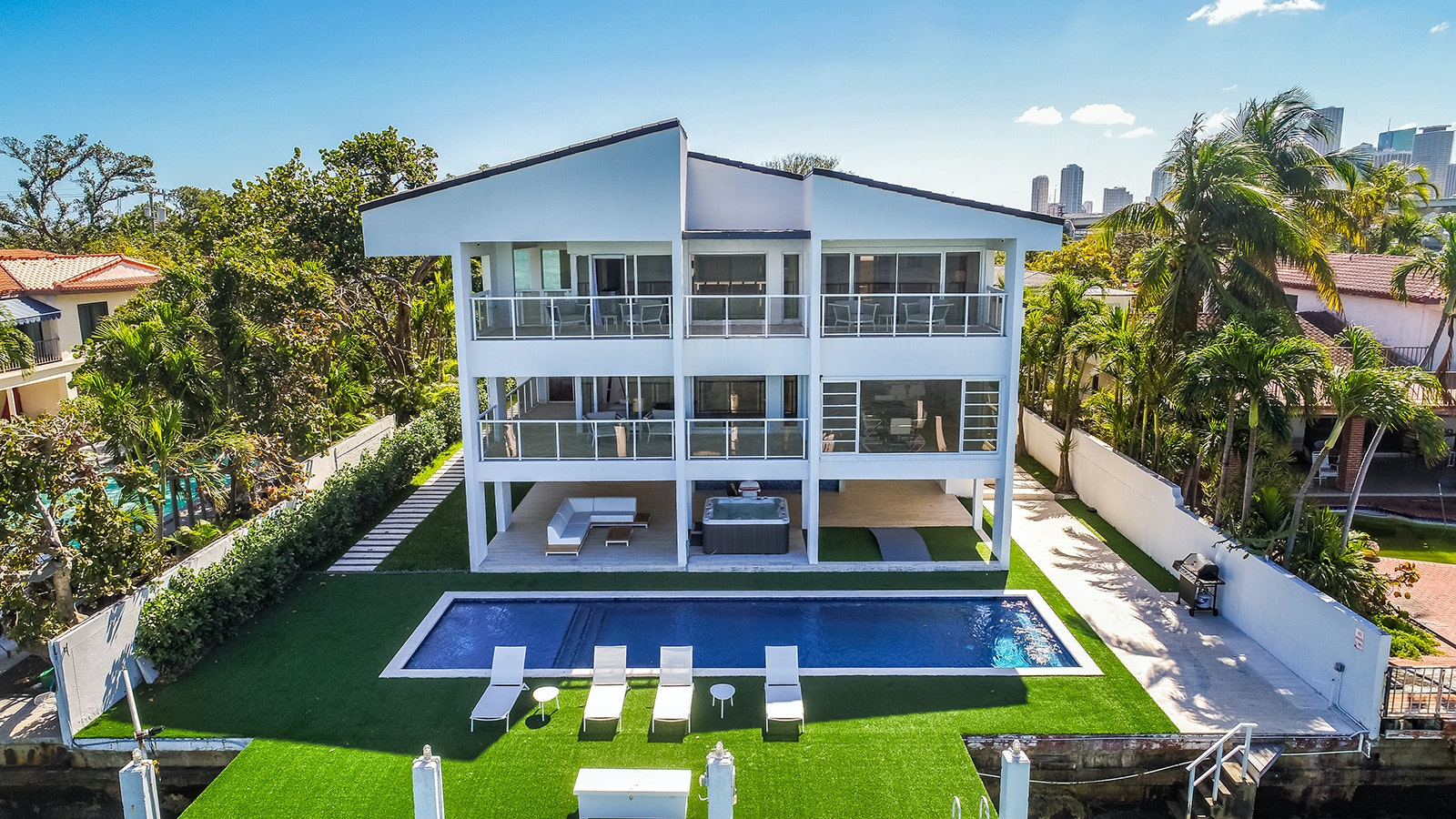Pile up to 16 friends in this eight-bedroom, seven-and-a-half-bath dream house in the posh Venetian Islands.