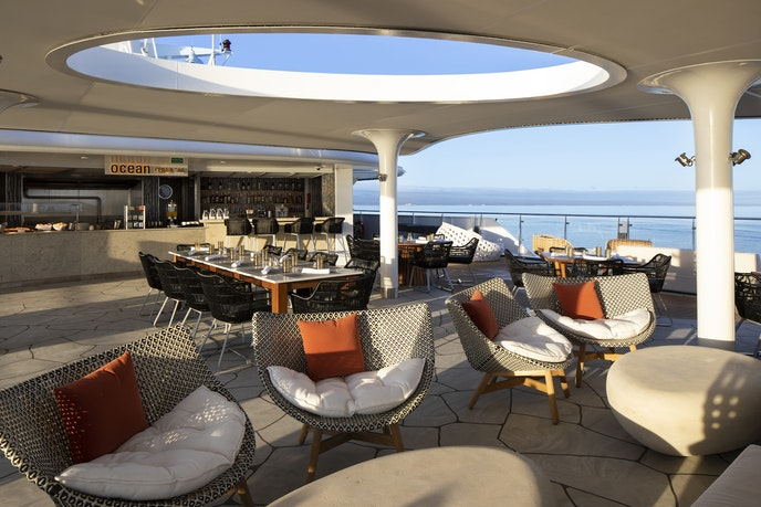 Head to the top deck for dining alfresco at the Ocean Grill.