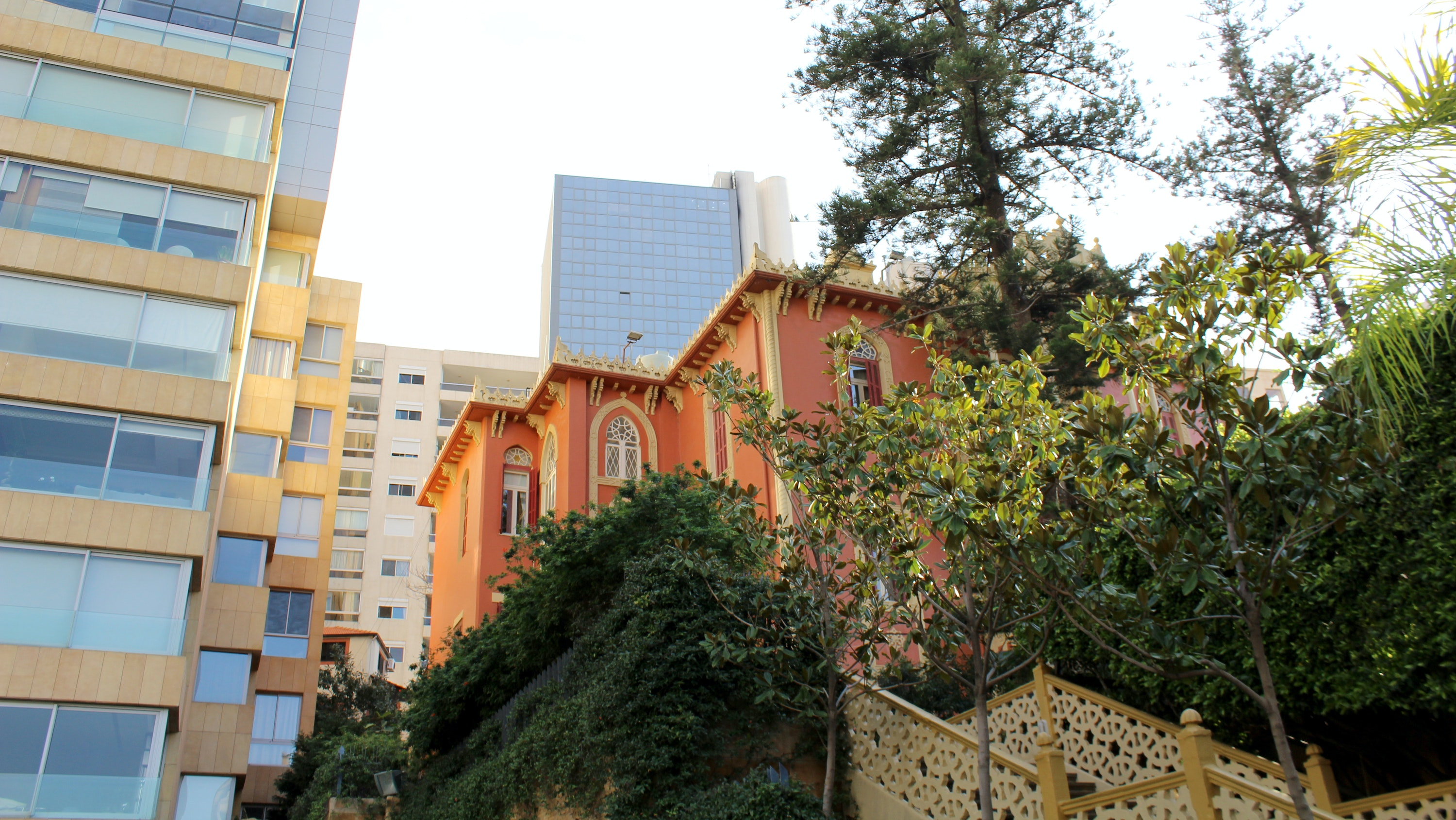 A mix of architectural styles along a street in Beirut