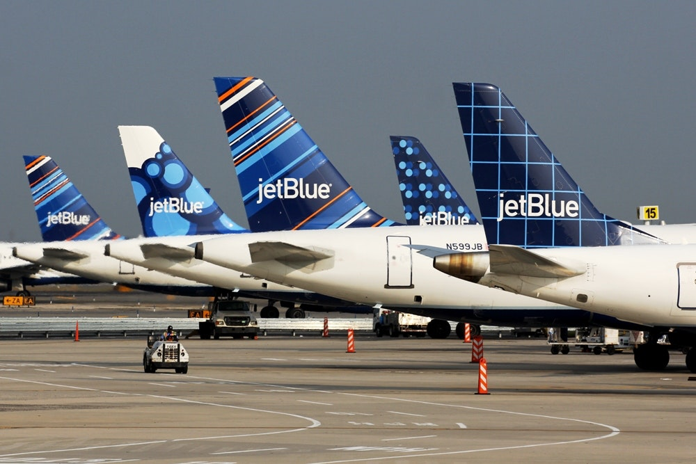JetBlue airplanes on the runway