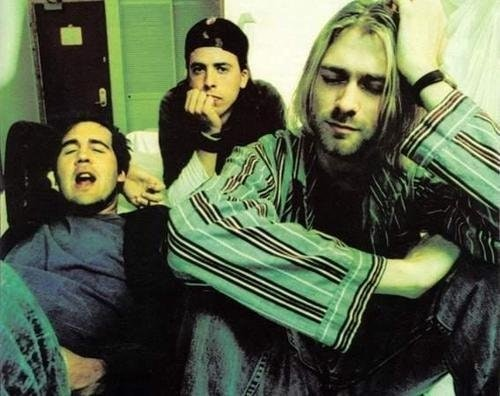 Nirvana band members Krist Novoselic, Dave Grohl (center), and Kurt Cobain