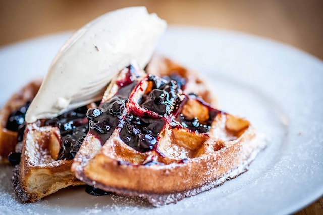 House-made Belgian waffles at Chateau Bourbon, in Louisville, Kentucky.