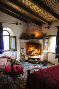 After foraging, a fire is a welcome sight at Auberge Dardara.