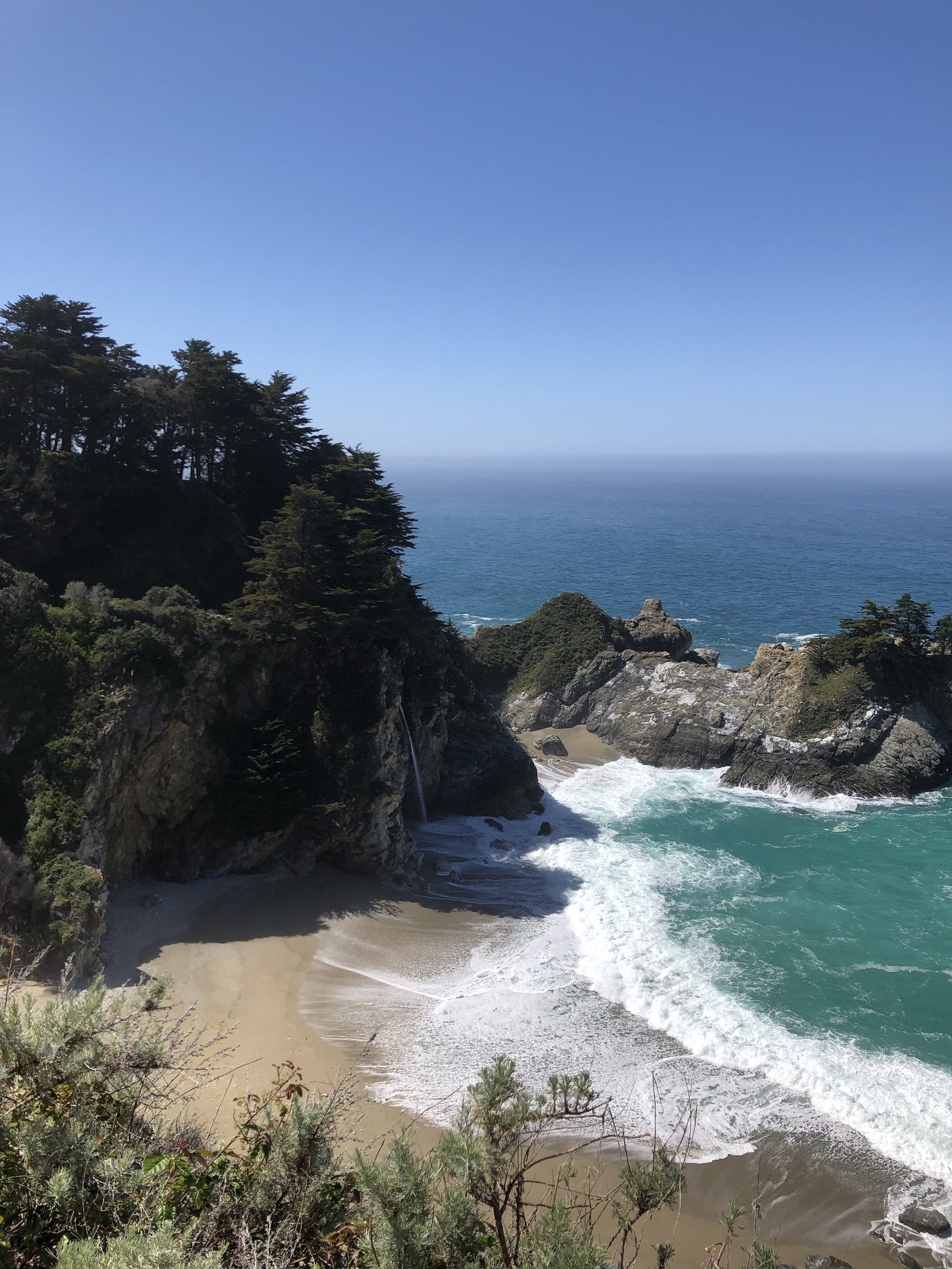 An electric road trip down Highway 1 should definitely include a stop to hike the Overlook Trail to McWay Falls in Julia Pfeiffer Burns State Park.