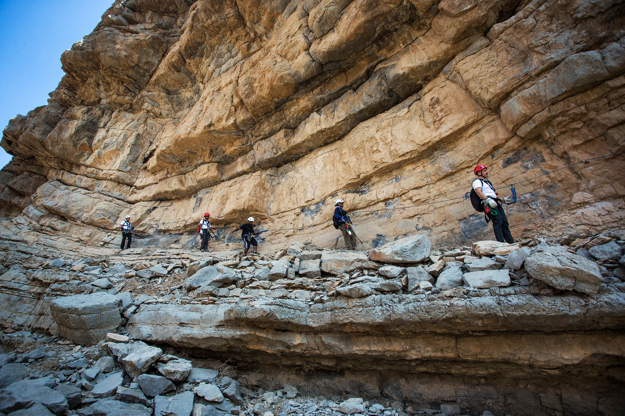 The Jebel Jais Via Ferrata is the only route in the United Arab Emirates.
