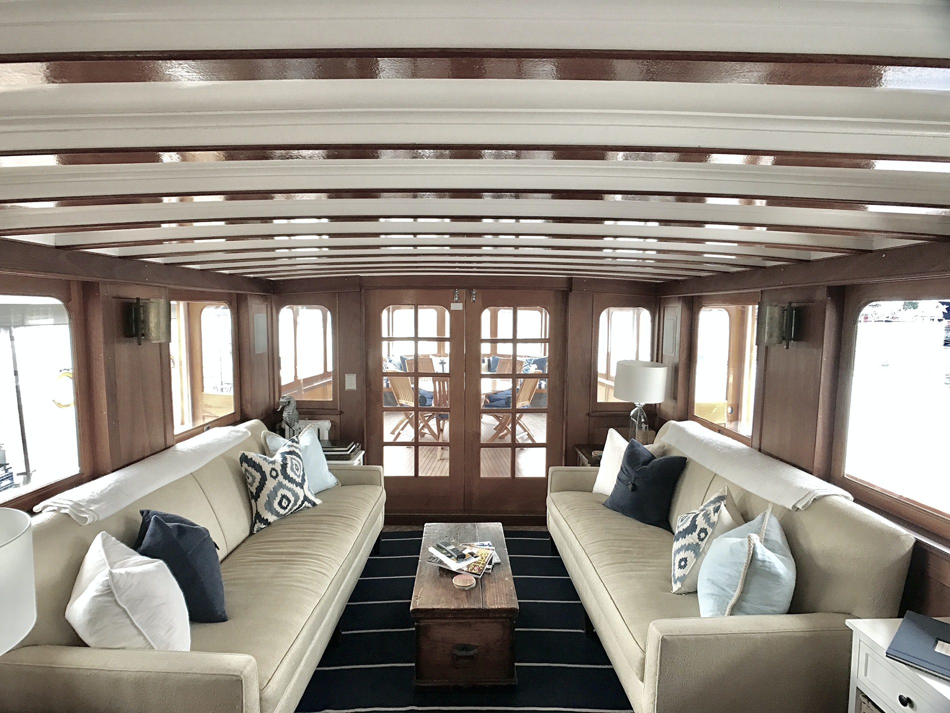 This 78-foot-long, 80-year-old yacht has been restored to a luxury standard as a floating hotel option for Airbnb guests.