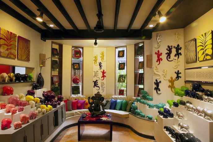 The gallery of laquered elephants at Theam's House is one example of how contemporary artists are mixing traditional motifs with modern design elements.
