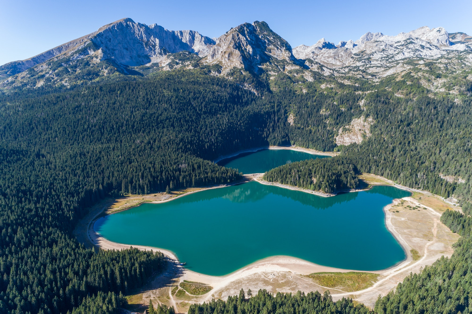 The glacial Black Lake is located at an elevation of 4,645 feet on Mount Durmitor.