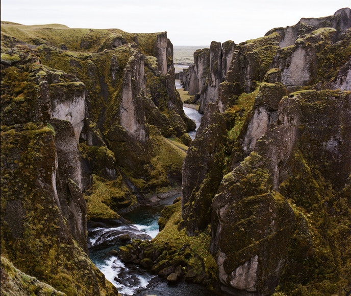 Ásbyrgi Canyon sits in Vatnajökull National Park and is about two miles long and one mile wide.