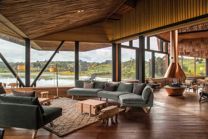 The design of the Tierra Chiloe resort draws from the fishermen's homes on the island.