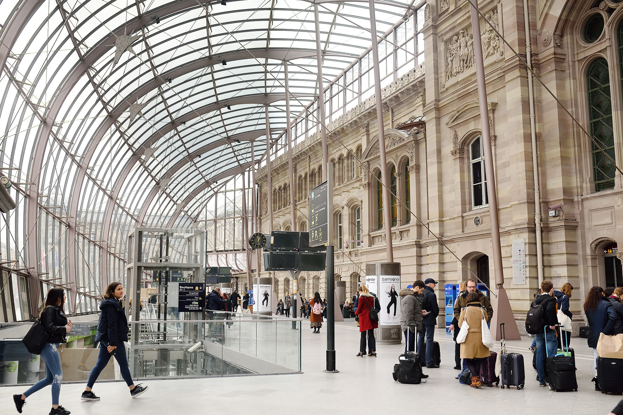 The historic Gare Ville station is surrounded by a glass pod, which protects the structure from the elements.