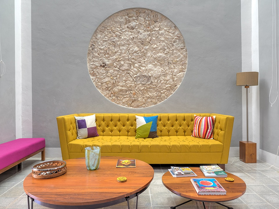 Pops of color accentuate the clean lines inside Casa del Limonero.