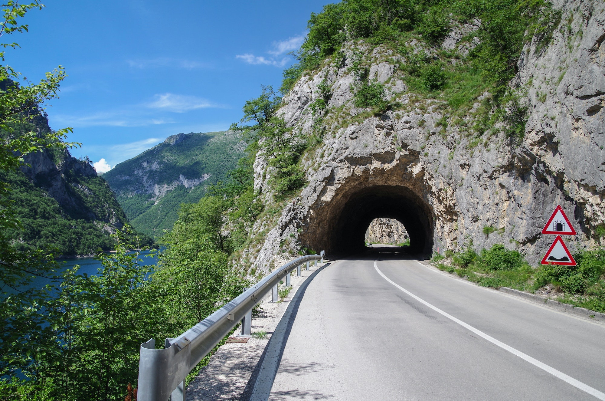 Located close to the border with Bosnia and Herzegovina, Montenegro's Piva Canyon Road is part of the European route E762.