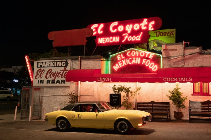 A dinner scene from the film was shot at El Coyote Café, where Sharon Tate visited before becoming a victim of the Manson family murders.