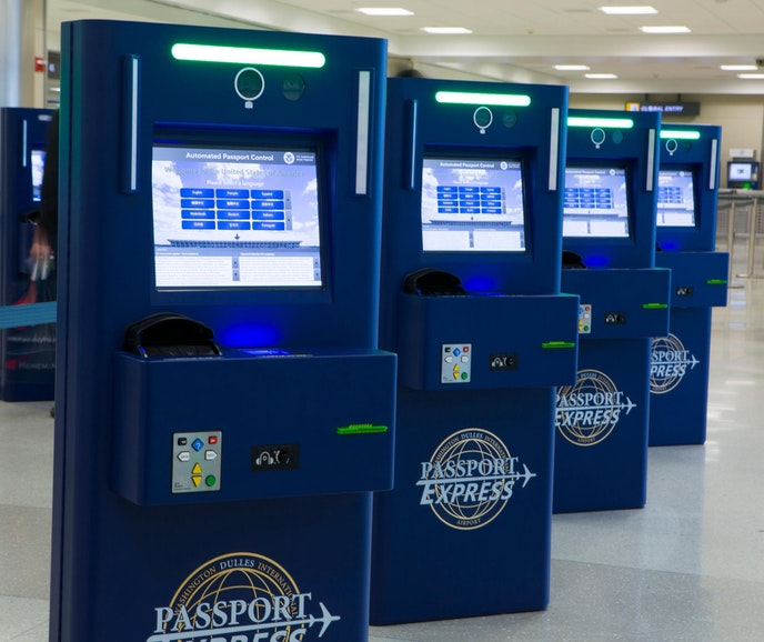 Upon entering the United States, Global Entry members scan their passports at kiosks and bypass the regular U.S. Customs and Border Protection lines.