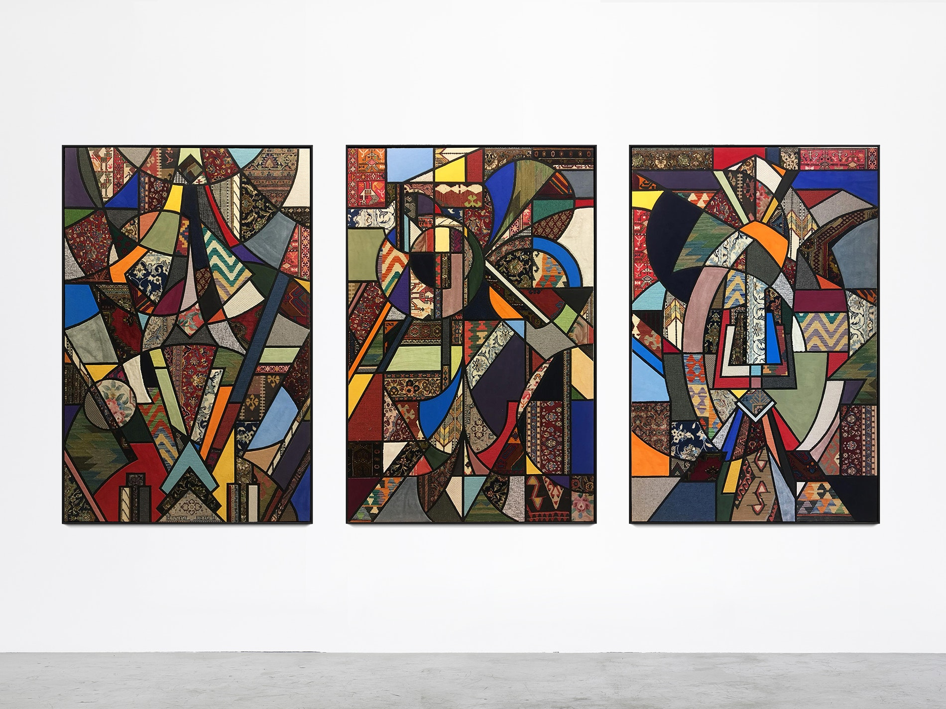 """Nevin Aldag's collage with carpets, titled """"Social Fabric"""""""