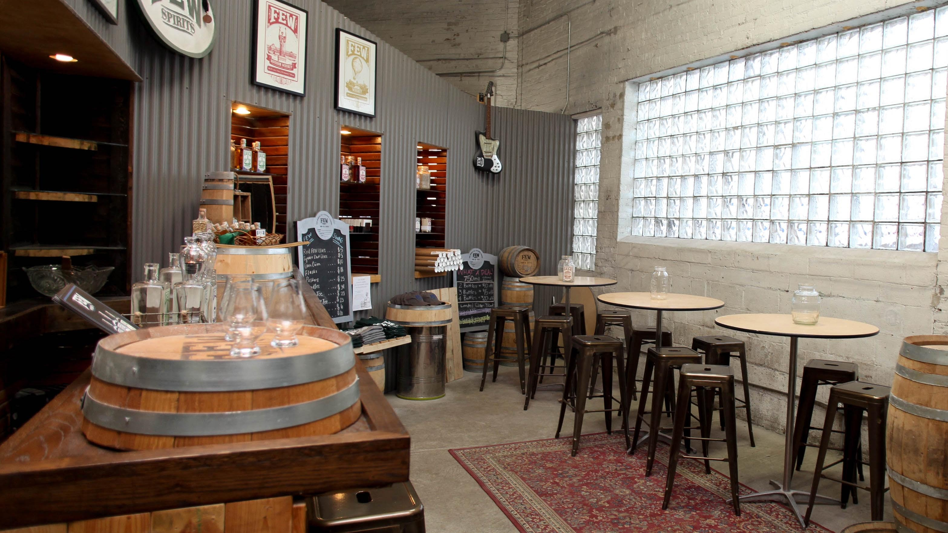 The tasting room at FEW Spirits