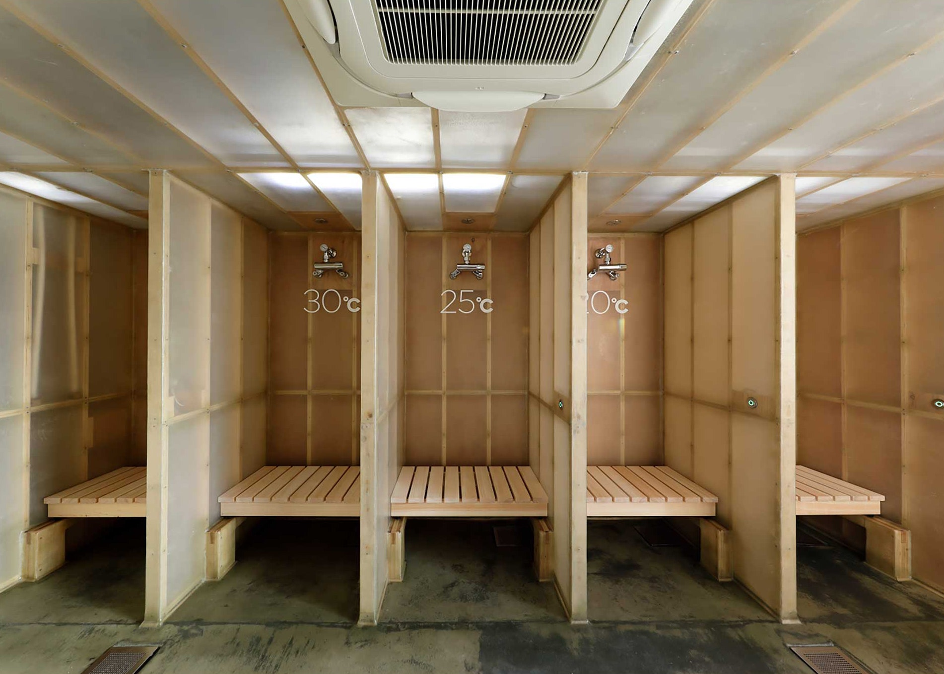 Shampoo, conditioner, and soap are provided in each shower unit.