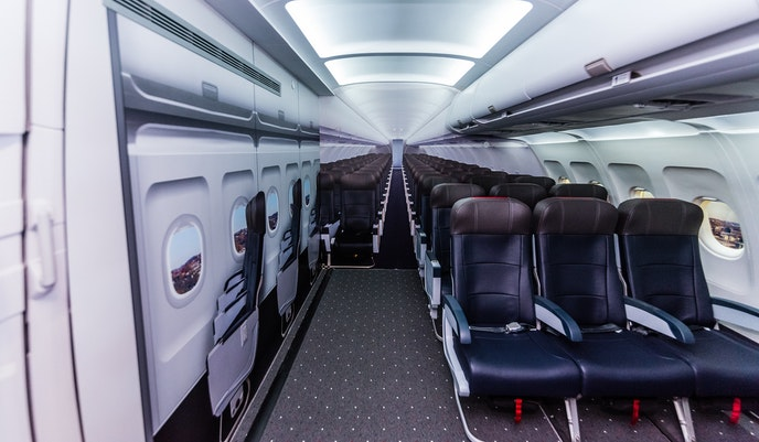 """Inside the """"airplane experience"""" in the sensory suite"""