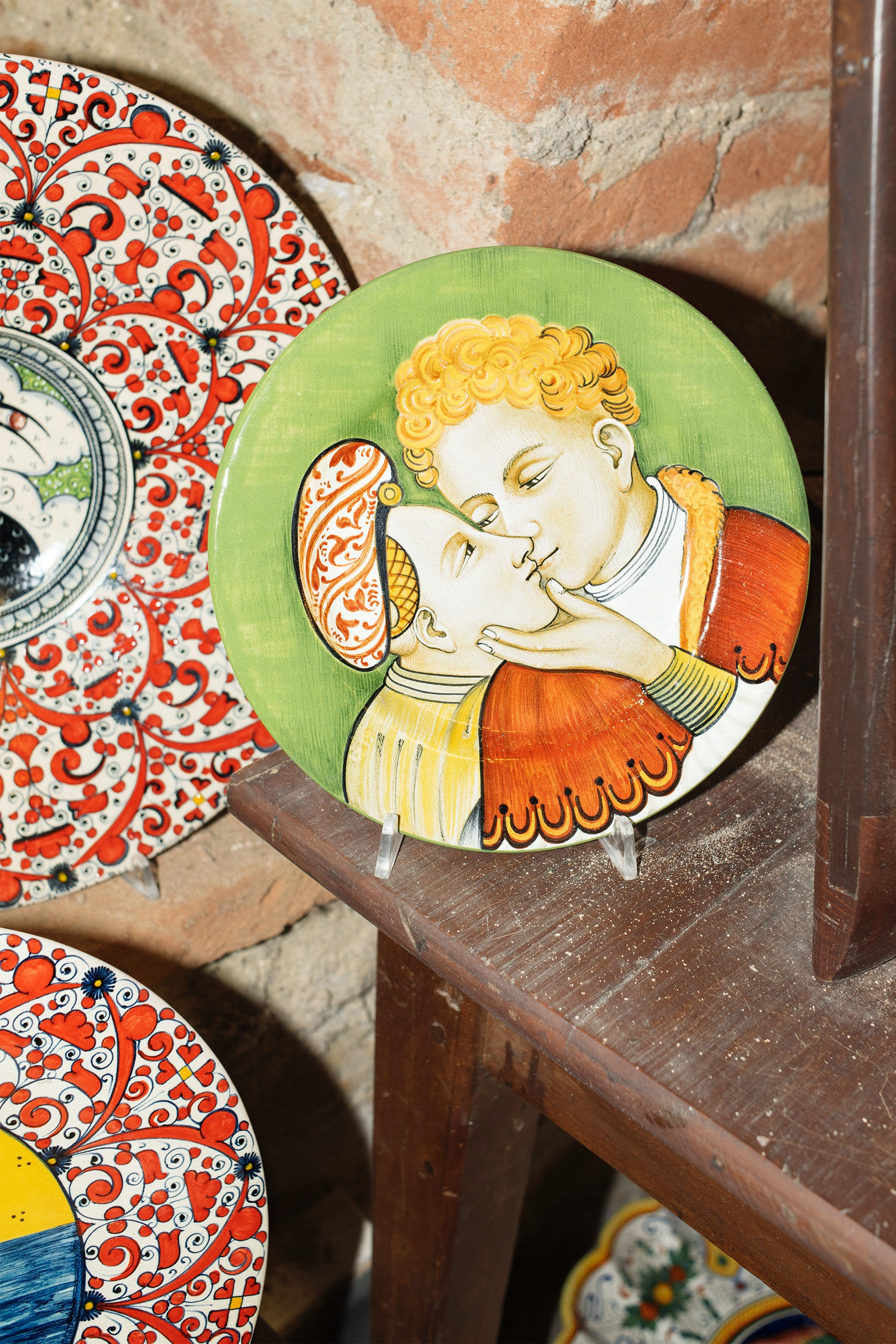 Dishware on display at a ceramics shop in Deruta.