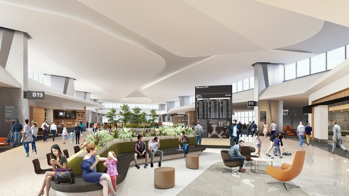 A rendering of the nine-gate Boarding Area B section of Harvey Milk Terminal 1, which serves domestic and international travelers.