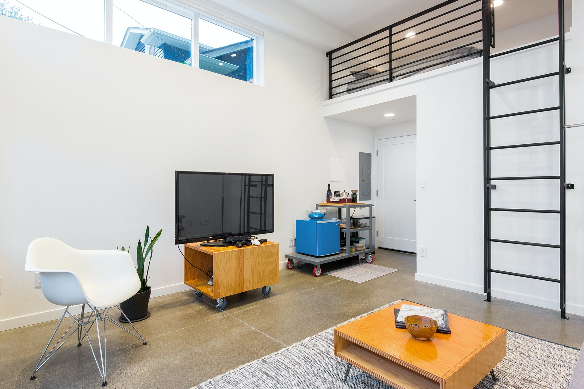 Base your stay in trendy Ballard at this chic minimalist studio.