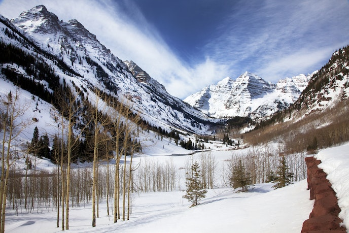 Maroon Bells is a pair of dreamy peaks about 12 miles away from Aspen.