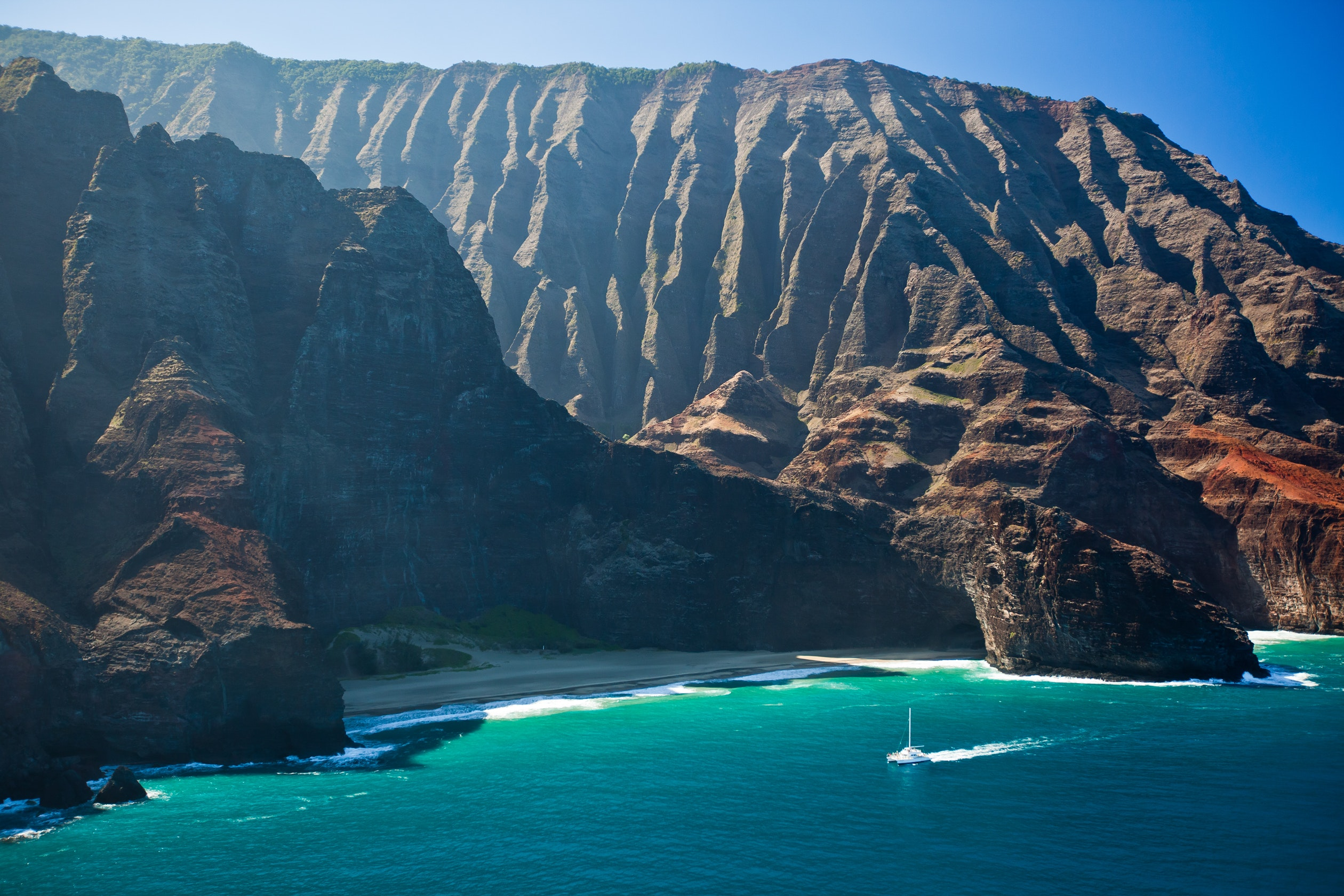 The cliffs and lush trails of Kauai's Napali Coast are steep and spectacular.