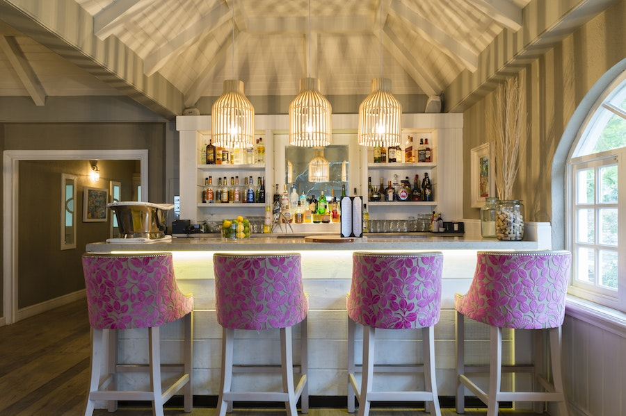 The bar at The Palm, one of the dining options at Blue Waters Resort & Spa