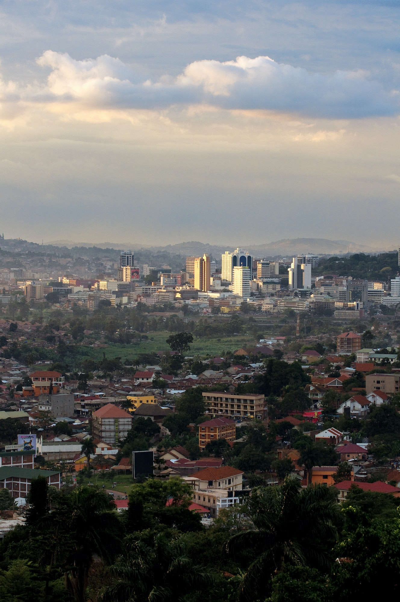 The view Uganda's capital city, Kampala, at sundown.