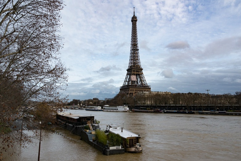 The Seine's water levels surpassed 17 feet on January 24, 2018.