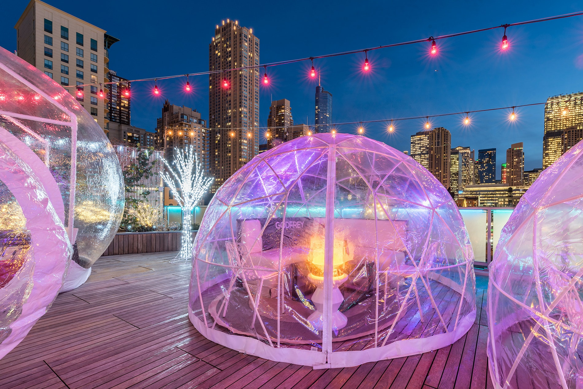 Take in Chicago's skyline from heated igloos atop The Godfrey Hotel.