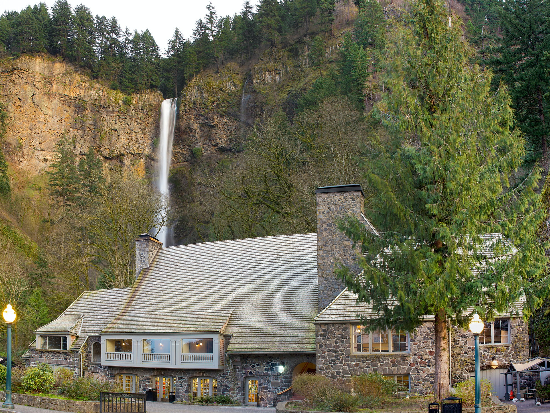 The Multnomah Falls Lodge reopened in November with a new shuttle service from Portland.